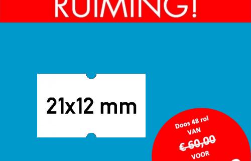 Opruiming - prijsetiket - prijsetiketten - 21 x 12 - punch hole - permanent