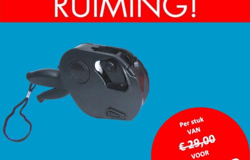 Opruiming - MOTO - 1 regel - prijstang - prijsetiket - prijs - prijzen - beprijzen