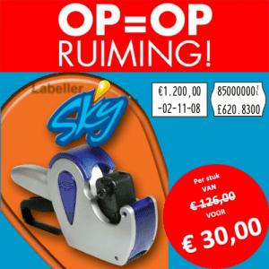 Opruiming - SKY - 2 regel - prijstang - prijsetiket - prijs - prijzen - beprijzen