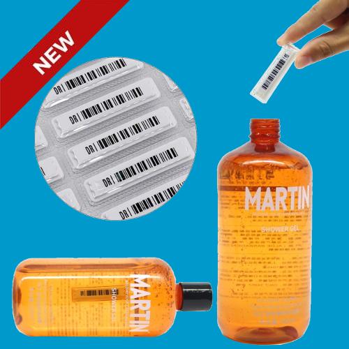 artikelbeveiliging - productbeveiliging - winkelbeveiliging - beveiligingslabel - beveiligingsetiket - vloeistof - parfum - olie - water - shampoo - liquid - vloeibaar - water resistant - waterer resistent