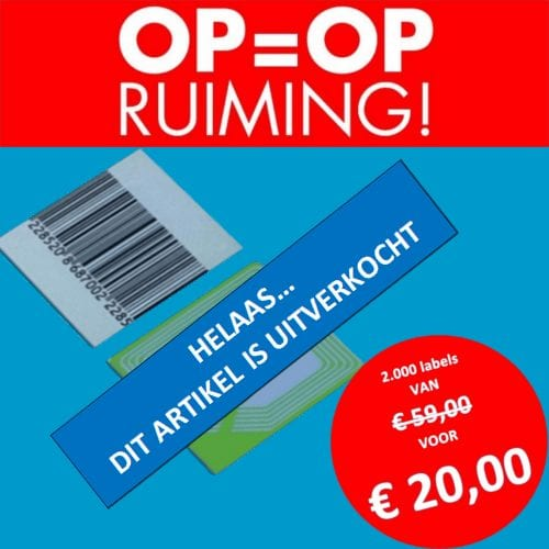 opruiming - beveiligingslabels - beveiligingsetiketten - RF - Radio Frequent - Checkpoint - 2410 - 23 x 25 mm - barcode - artikelbeveiliging - productbeveiliging - winkelbeveiliging